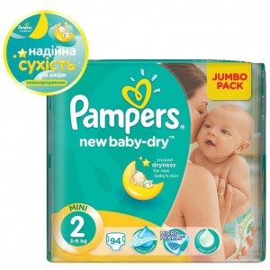 Подгузники Pampers New Baby-Dry Mini №2 94 шт. (3-6 кг.)
