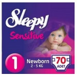 Подгузники Sleepy Sensitive Newborn 70 шт. (0-3 кг.)